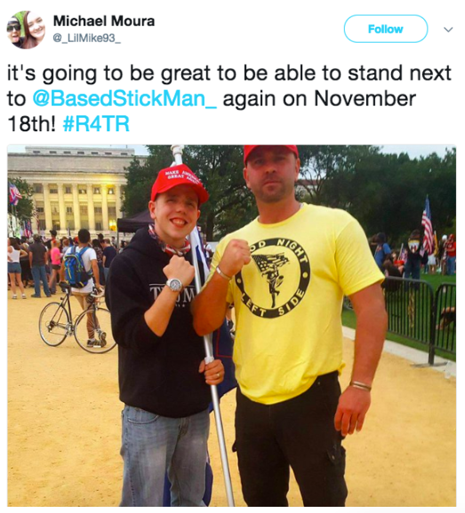 "Screenshot of a tweet by Michael Moura @_LilMike93_, image in tweet features Moura and ""@BasedStickman"" flexing. Both in red MAGA hats and Moura hold a flag. Text of tweet reads ""it's going to be great to be able to stand next to @BasedStickMan_ again on November 18th #R4TR"