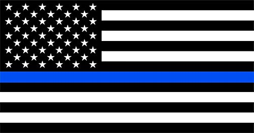 US American flag in black and white, except through the middle which has a blue line representing police
