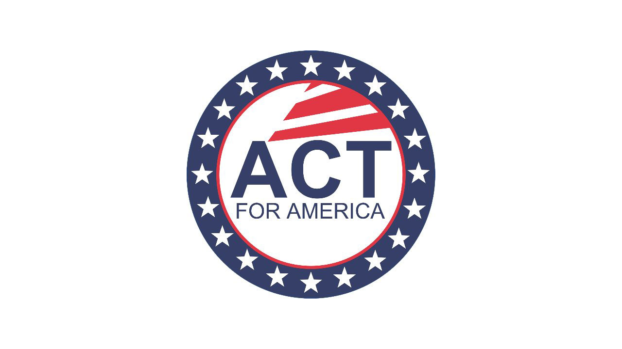 "Circular logo with text ""ACT for America""in the center below three horizontal red stripes. Circle has blue border with white five point stars."