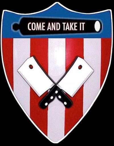 """Shield shaped logo with a blue top and red and white striped bottom to evoke the US flag. A black image of a cannon is imposed over the blue and reads """"come and take it."""" Over the stripes are two crossed butcher's cleavers."""