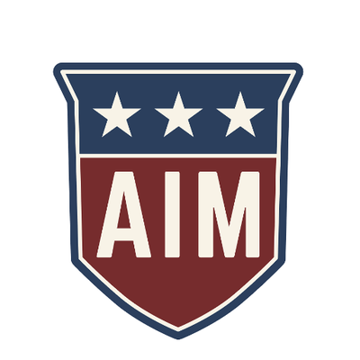 "Shield-shaped logo in red white and blue. Three white stars on a blue background on the top and on the bottom the text ""AIM"" in hite on a red background."