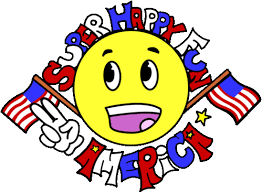 yellow smiley emoji with white hand pointing index and middle finger to the left, surround by red white and blue letters reading Super Happy Fun America, flanked on either side by american flags