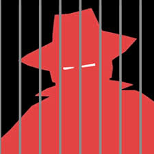 Graphic of red silhouette of person in hat and trenchcoat with narow white slits for eyes behind gray bars