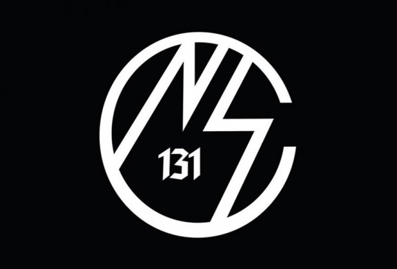 "Nationalist Social Club logo, white on black background. Nazi lightning bolt ""S"" is mirror imaged to make the ""N"" and ""S"" which are enclosed by ""C"" and ""131"" is written in the center."