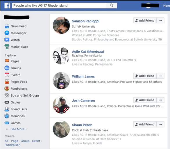 "Screenshot of Facebook post of ""People who like AG 17 Rhode Island"" which shows Samson Racioppi, Agile Kat (Mendoza),William James, Josh Cameron, and Shaun Perez"
